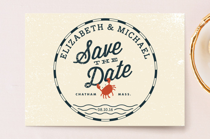 """Salty Seas"" - Beach, Destination Save The Date Postcards in AntiqueWhite by Oscar & Emma."