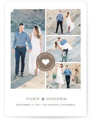 Stamped Heart Save the Date Postcards