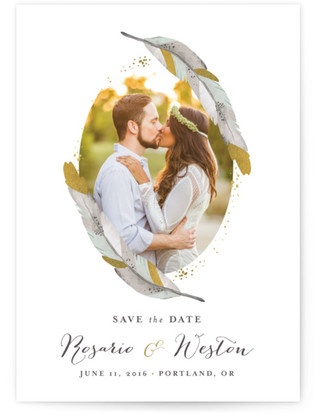 Dipped Feathers Save the Date Cards