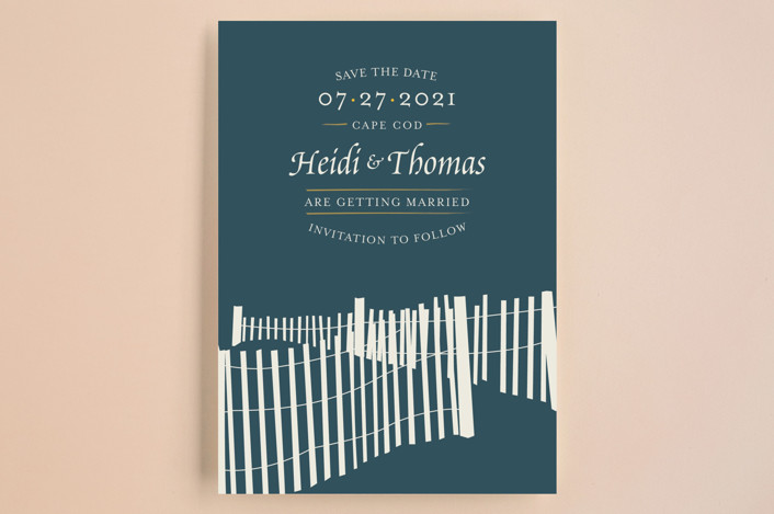 """""""Beachside"""" - Bold typographic, Beach Save The Date Cards in Navy by 24th and Dune."""