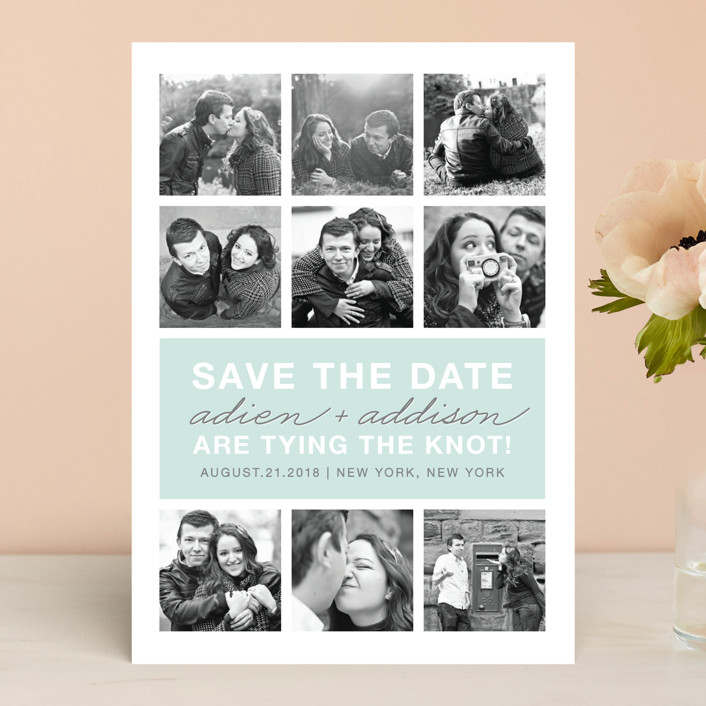 """Photo Gallery"" - Bold typographic, Modern Save The Date Cards in Sea by The Social Type."