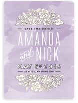 Watercolor Floral Column Save The Date Cards