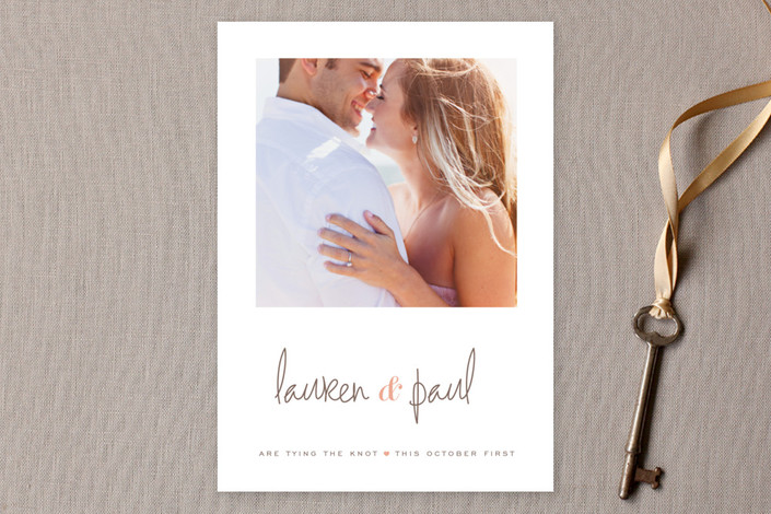 """""""Sweet Script"""" - Bold typographic, Simple Save The Date Cards in Peach by kelli hall."""