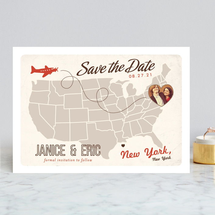 """""""Up and Away"""" - Bold typographic, Destination Save The Date Cards in Tomato by leslie hamer."""