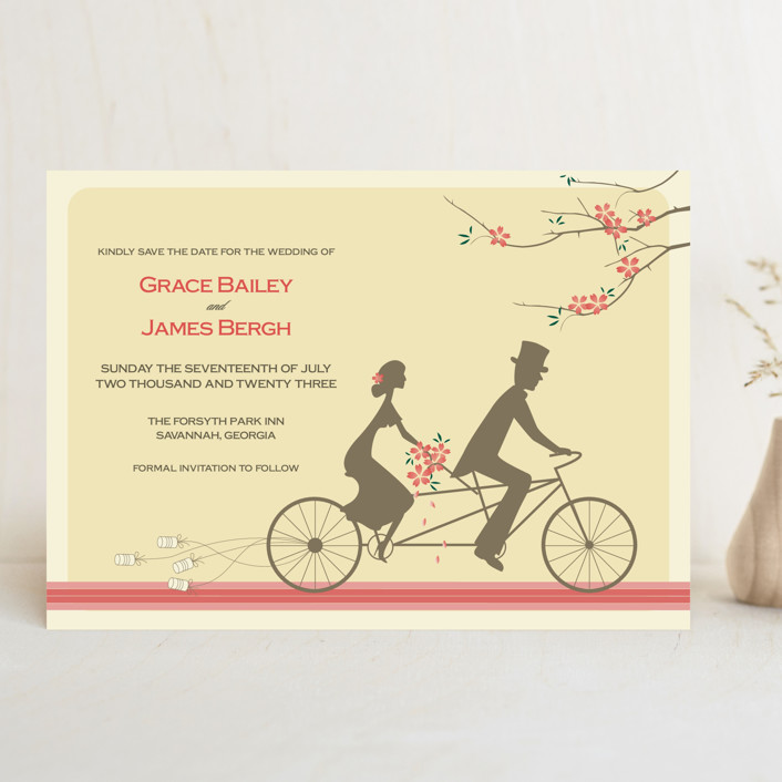 """Journey Together"" - Vintage Save The Date Cards in Buttercream by Letter19Design."
