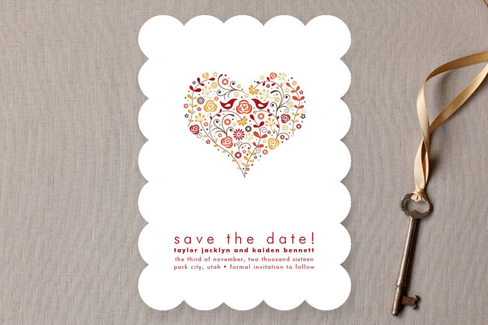 """""""Love Birds"""" - Floral & Botanical, Whimsical & Funny Save The Date Cards in Rustic Red by Jana Volfova."""
