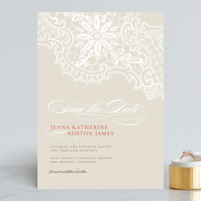 """White Lace"" - Vintage Save The Date Cards in Coral Rose by Lauren Chism."