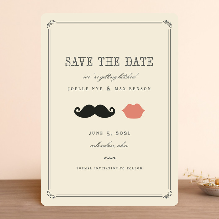 """""""Stache + Kiss"""" - Whimsical & Funny, Vintage Save The Date Cards in Crème by Penelope Poppy."""