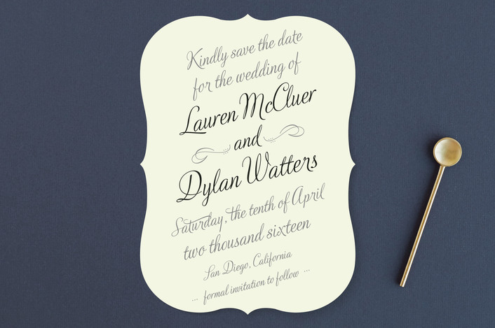 """Just My Type"" - Bold typographic, Classical Save The Date Cards in Tuxedo by Ann Gardner."