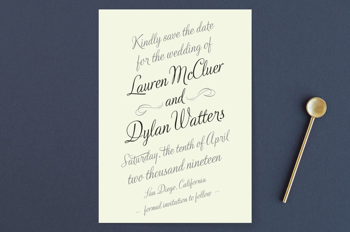 """""""Just My Type"""" - Bold typographic, Classical Save The Date Cards in Tuxedo by Ann Gardner."""