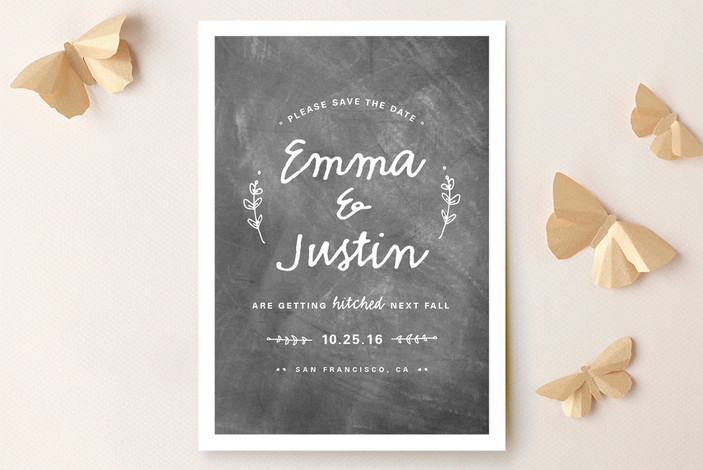 """""""Whimsical Hitch"""" - Rustic Save The Date Cards in Chalkboard by WHALEN."""