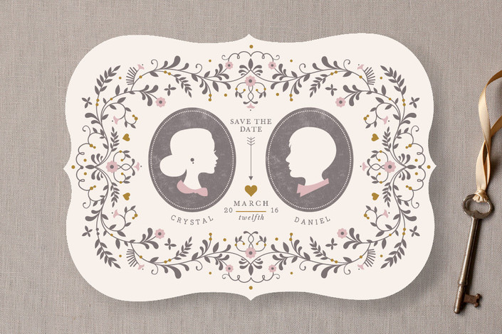 """""""Date Silhouette"""" - Whimsical & Funny, Vintage Save The Date Cards in Copper by Kristen Smith."""