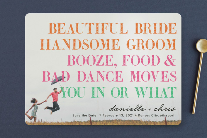 """""""You In or What?"""" - Whimsical & Funny, Modern Save The Date Cards in Bright Pink by hi-lighter inc.."""
