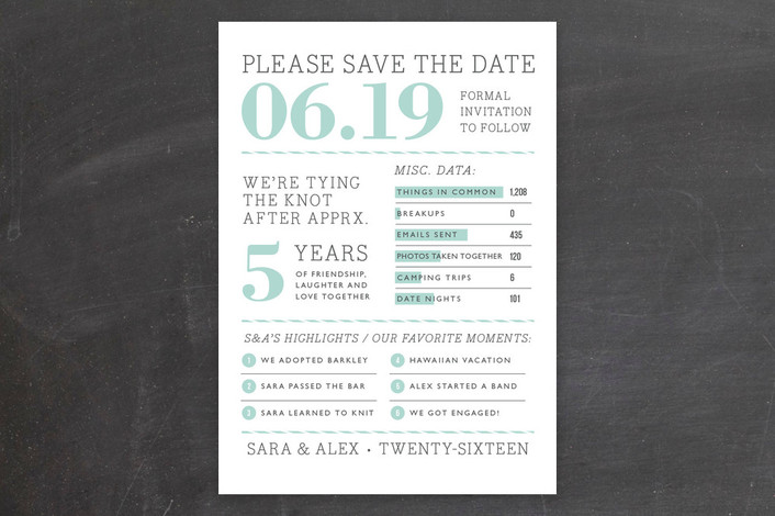 """Year in Review"" - Bold typographic, Modern Save The Date Cards in Sky by j.bartyn."