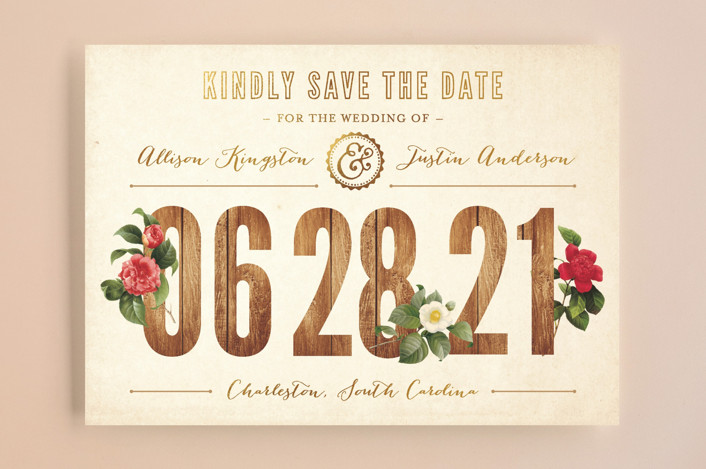 """Derby"" - Floral & Botanical, Rustic Save The Date Cards in Wood by cadence paige design."