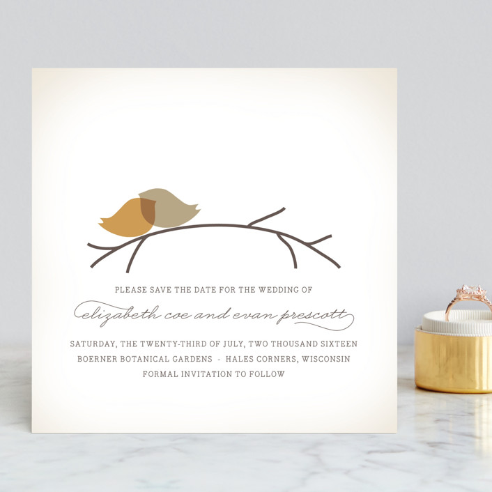 """Nestled"" - Whimsical & Funny, Modern Save The Date Cards in Pumpkin Spice by Design Lotus."