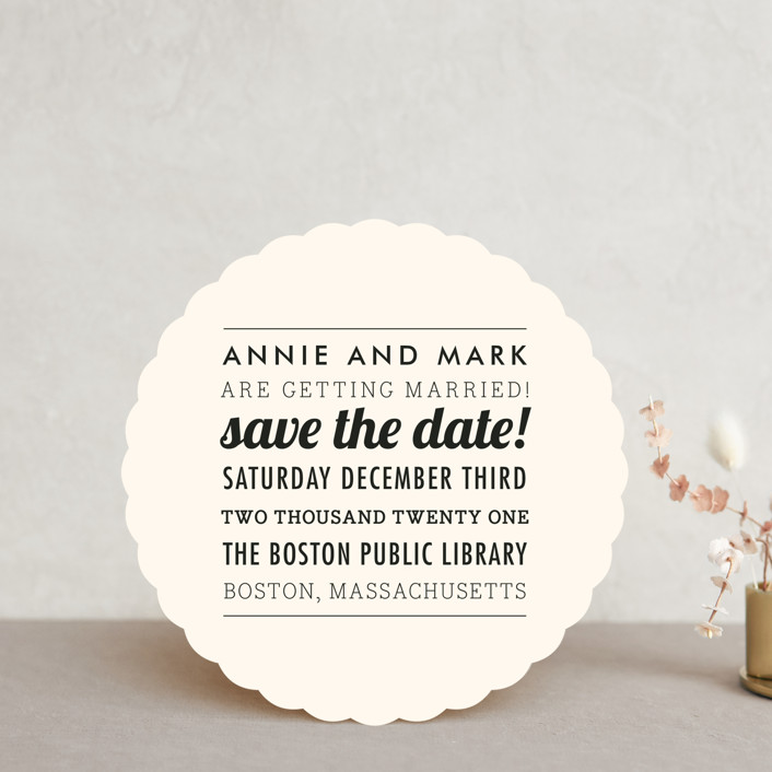 """""""The Square Type"""" - Modern, Modern Save The Date Cards in Crème by Design Lotus."""