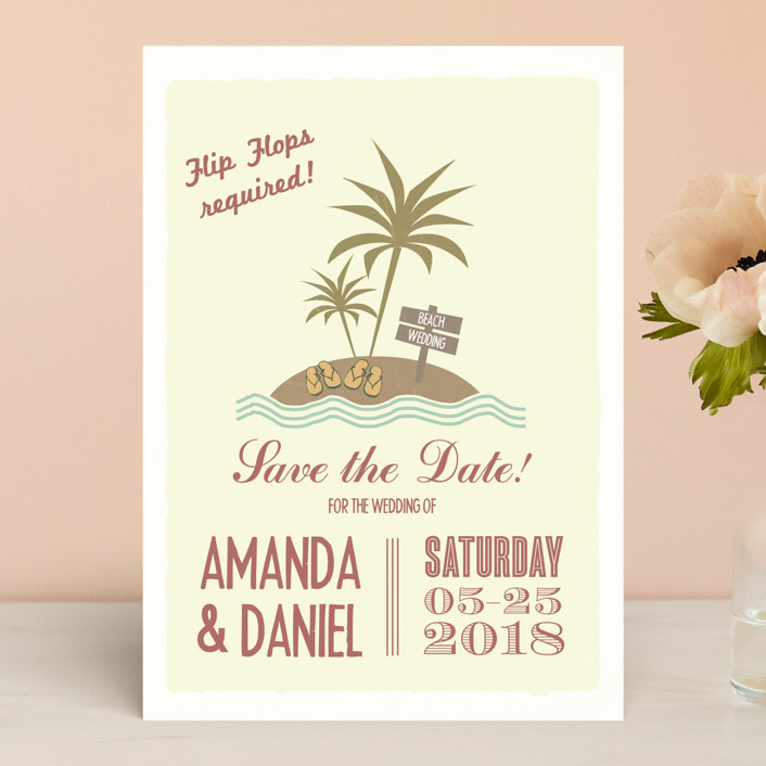 """""""Flip Flops Required"""" - Bold typographic, Beach Save The Date Cards in Rust by Designkandy."""