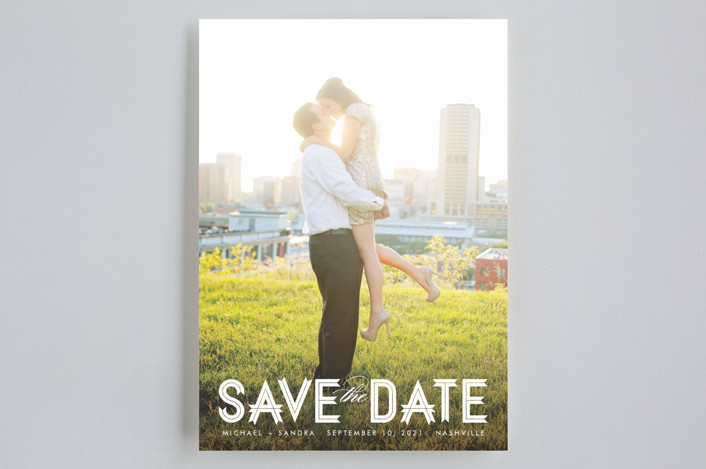 """""""Modern Ribbon"""" - Bold typographic, Modern Save The Date Cards in Snow by Jill Means."""