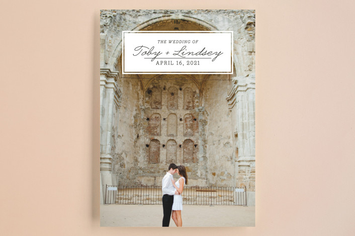 """""""Bookplate"""" - Full-Bleed Photo, Vintage Save The Date Cards in Onyx by Ann Gardner."""