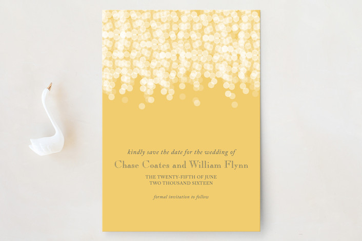 """""""Under the Stars"""" - Elegant, Classical Save The Date Cards in Citrus Yellow by Bethany Anderson."""