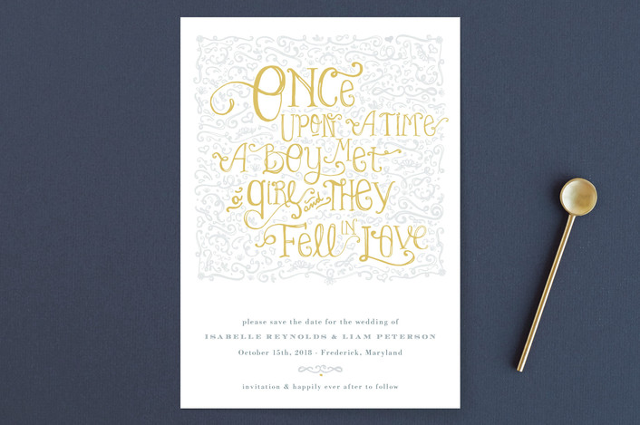 """""""Once Upon"""" - Elegant, Classical Save The Date Cards in Sunflower by Erin Pescetto."""