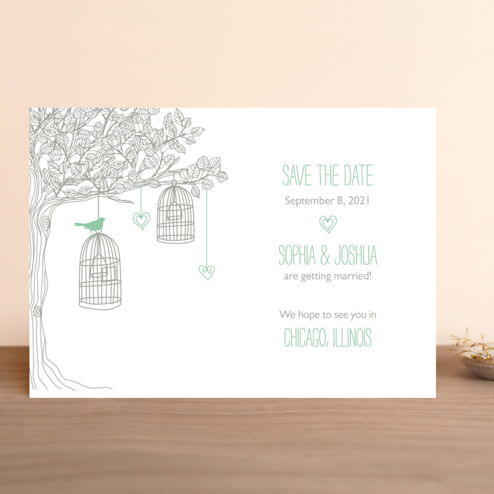 """Love Let Loose"" - Whimsical & Funny Save The Date Cards in Seaglass by Paisley Tree Press."