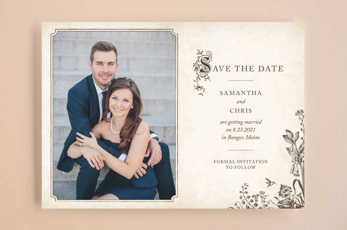 """""""Story Book"""" - Vintage Save The Date Cards in Winter Cream by Jody Wody."""