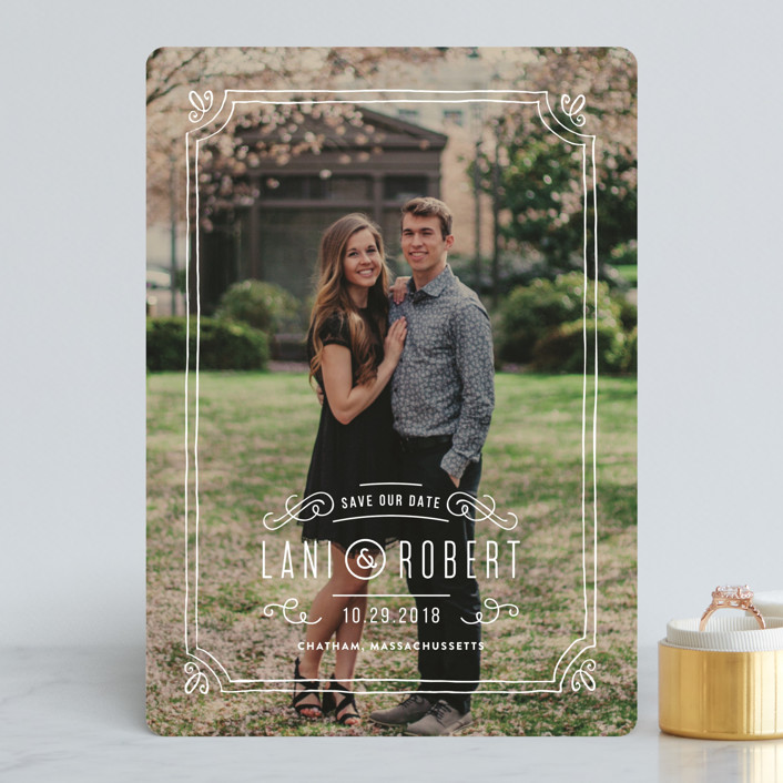 """Hand-Drawn Frame"" - Classical, Hand Drawn Save The Date Cards in Chalk by Jennifer Wick."