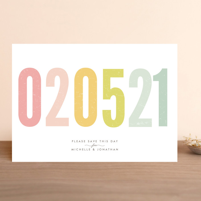 """Ice Cream Parlour Pastels"" - Bold typographic, Whimsical & Funny Save The Date Cards in Pastel by Phrosne Ras."