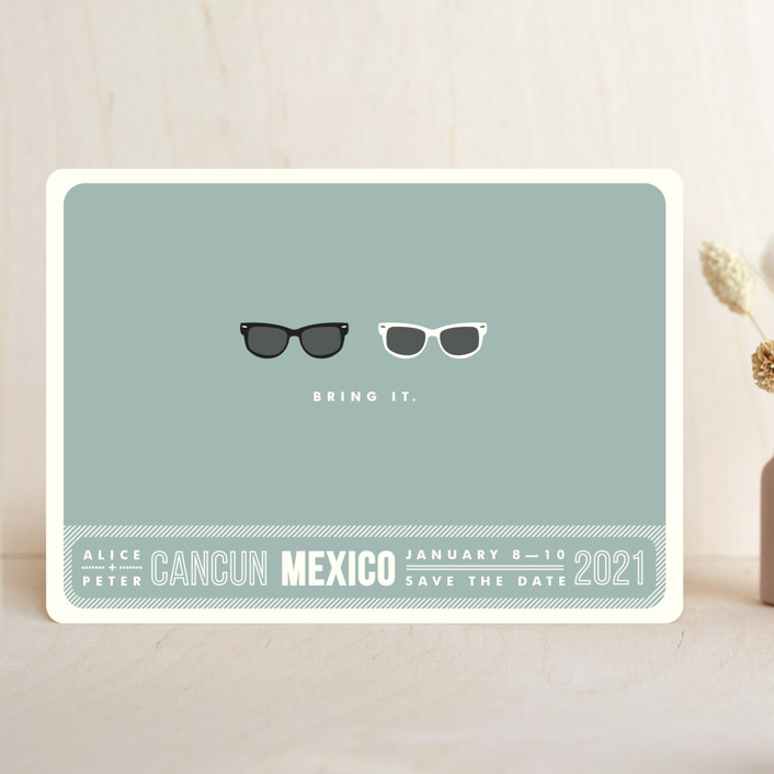 """Shades"" - Whimsical & Funny, Beach Save The Date Cards in Celadon by Olive and Violet."