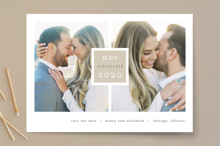 """""""Frame Up"""" - Modern, Simple Save The Date Cards in Khaki by Stacey Meacham."""