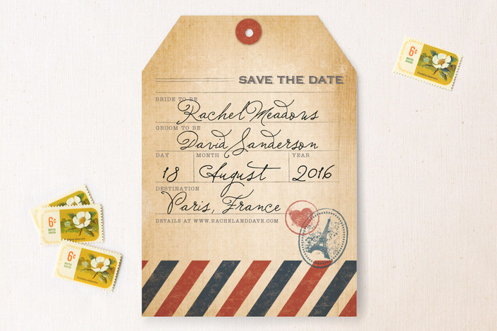 """Vintage Pack Your Bags"" - Destination, Vintage Save The Date Cards in Post Office by Dawn Jasper."