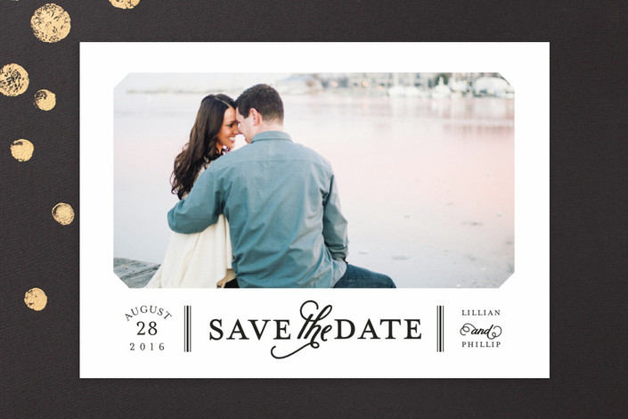 """""""Sterling"""" - Modern, Simple Save The Date Cards in Noir by Sarah Brown."""