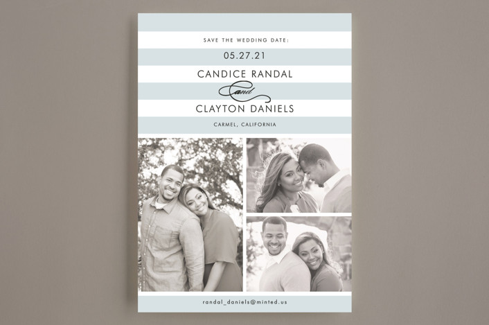 """""""Striped Gallery"""" - Modern, Simple Save The Date Cards in Overcast Blue by Jill Means."""