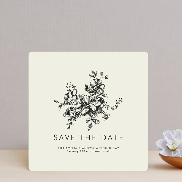 """Elegance Illustrated"" - Elegant, Formal Save The Date Cards in Cream by Phrosne Ras."