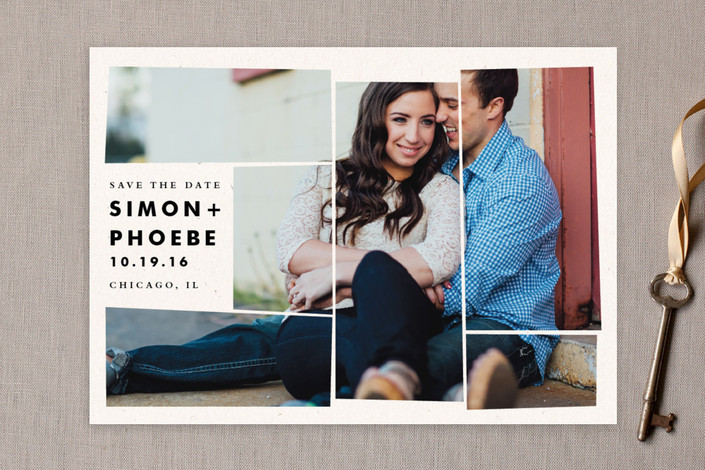 """""""Off the Grid Mosaic"""" - Modern Save The Date Cards in Snow by Pistols."""