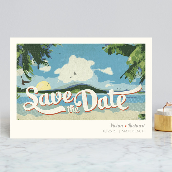 """""""Vintage Tropical"""" - Destination, Beach Save The Date Cards in Vibrant by Rebecca Bowen."""