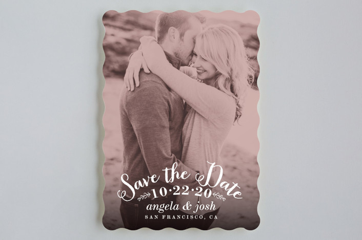 """""""Photogenic"""" - Full-Bleed Photo, Vintage Save The Date Cards in Rose by Hooray Creative."""