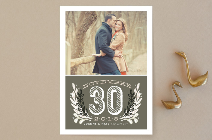 """""""Chalkboard"""" - Bold typographic, Floral & Botanical Save The Date Cards in Charcoal by Alethea and Ruth."""