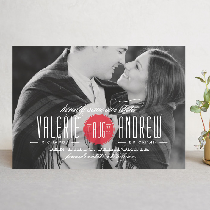 """Twine"" - Bold typographic, Elegant Save The Date Cards in Coral by Lauren Chism."