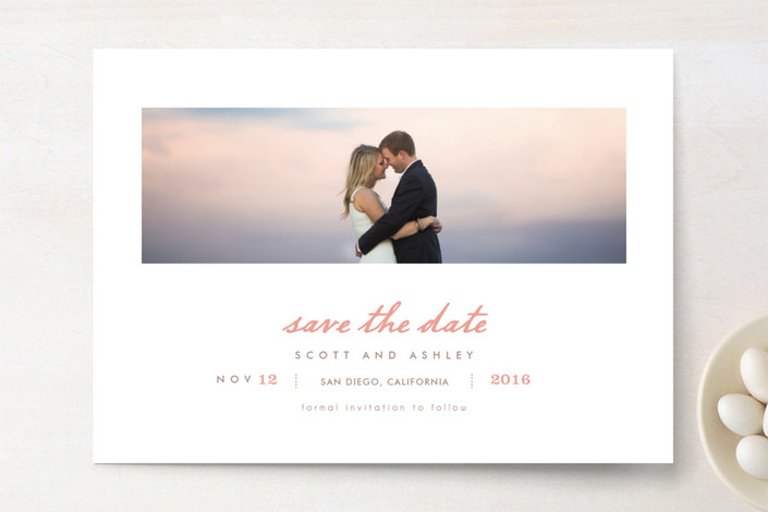 """Neapolitan"" - Simple Save The Date Cards in Misty Rose by chocomocacino."