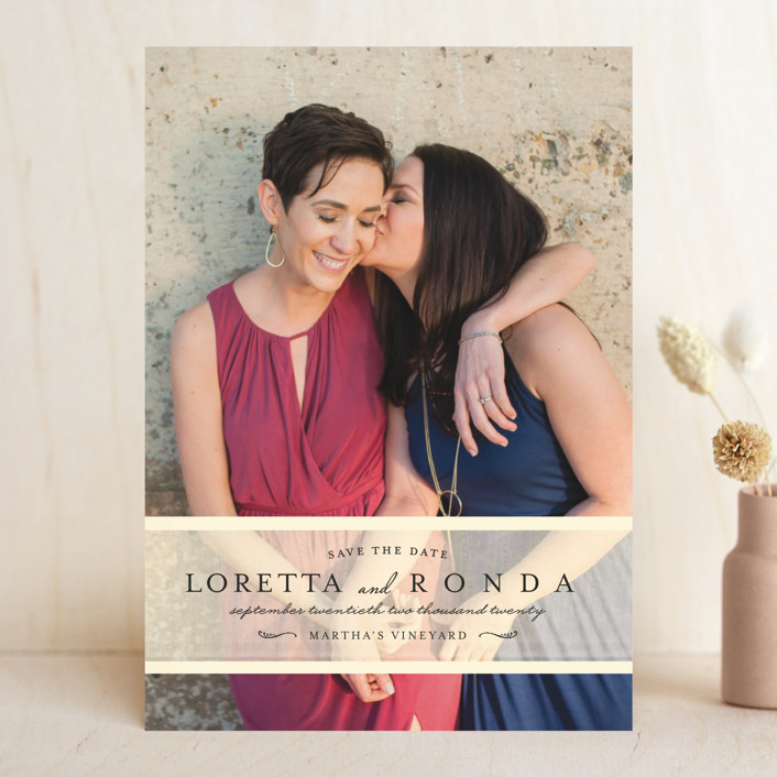 """""""Clean Linen"""" - Full-Bleed Photo, Simple Save The Date Cards in Cream by Lori Wemple."""