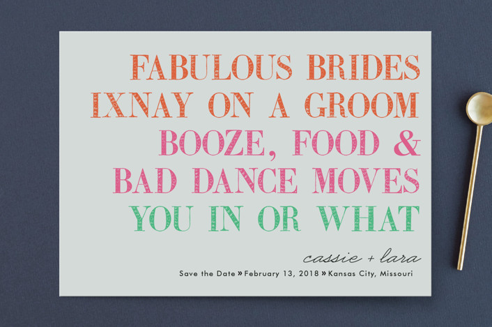 """""""You In Or What (Two Brides)"""" - Whimsical & Funny Save The Date Cards in Bright Pink by hi-lighter inc.."""