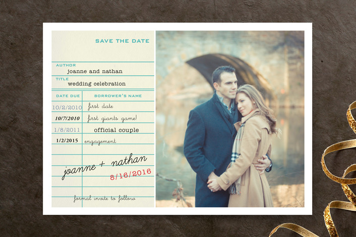 """""""Library Card"""" - Vintage Save The Date Cards in Teal by SimpleTe Design."""