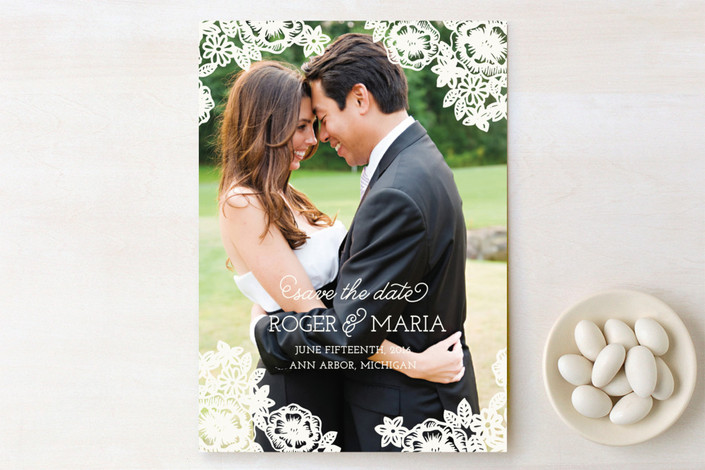 """Floral Lace"" - Hand Drawn, Full-Bleed Photo Save The Date Cards in Cream by Katharine Watson."