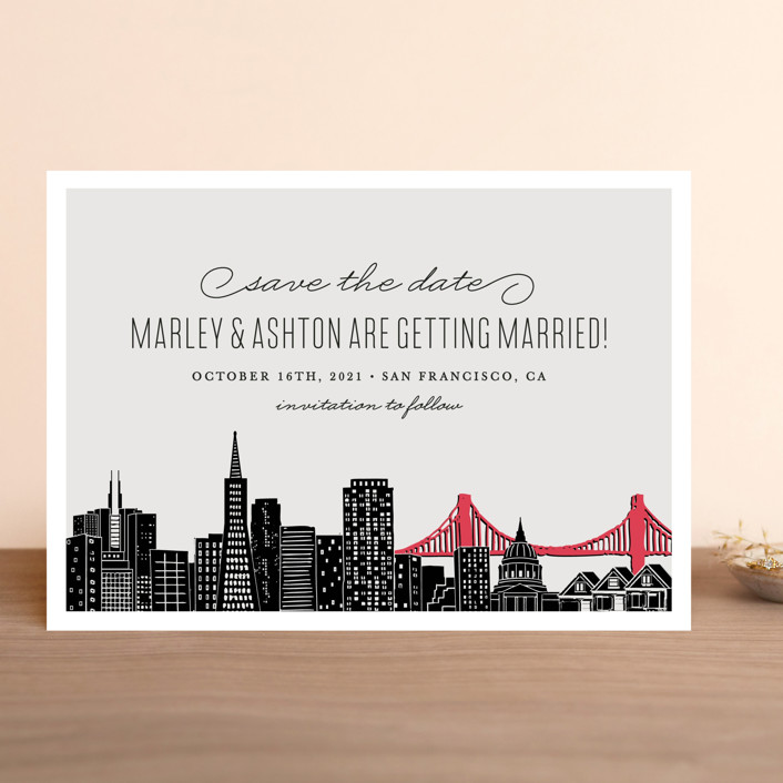 """""""Big City - San Francisco"""" - Destination, Modern Save The Date Cards in Light Taupe by Hooray Creative."""
