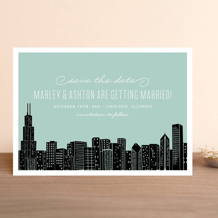 """Big City - Chicago"" - Destination, Modern Save The Date Cards in Mint Green by Hooray Creative."