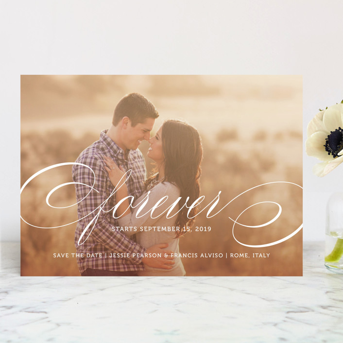 """""""Forever"""" - Formal, Full-Bleed Photo Save The Date Cards in Snow by Kimberly FitzSimons."""
