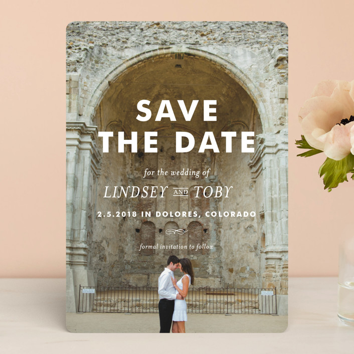 """""""Memento"""" - Full-Bleed Photo, Bold typographic Save The Date Cards in Ivory by annie clark."""